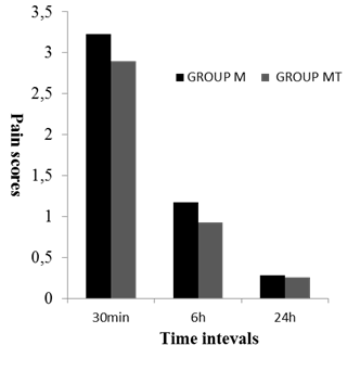 Figure 1. Pain scale, during the first 24 h after adenotonsillectomy in the two groups. M group premedicated with midazolam and MT group premedicated with midazolam plus tramadol.